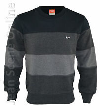 New Nike Mens Fleece Lined Triband Striped Sweatshirt Jumper Black Blue Grey Top