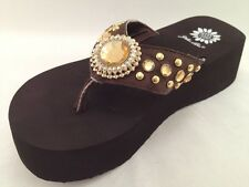 Yellow Box SHALINI BROWN Gold Cow Hair Fur Rhinestone Chunky Flip Flop Sandal