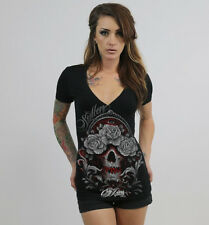 Sullen Angels Cory Norris Deep V-Neck Skull Tattoo Tee Angel With Roses Sexy!