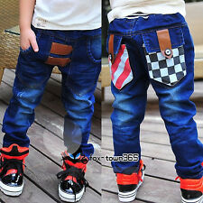 Autumn Spring Boys Baby Child Kids Hips Chess Plaid Jeans Trousers Pants 3-8Y