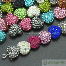 Top Quality Czech Crystal Rhinestones Pave Heart Bracelet Connector Charm Beads
