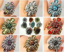 New! Fashion High Quality Mixed Rhinestone Flower Metal Woman's Elasticity Ring