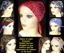 HEAD SCARVES FOR CHEMO PATIENTS . COMFORTABLE DESIGNS. PADDED FLATTERING EFFECT