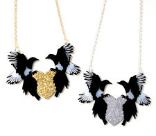 "Black and White Magpies necklace Glittery Heart - ""One For Sorrow, Two For Joy"""