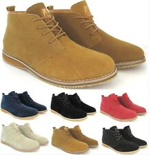 MENS SUEDE WINTER CASUAL LACE UP FASHION BOOTS ANKLE DESERT TRAINERS SHOES NEW