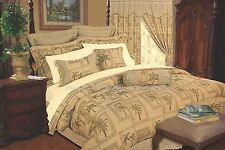 9 PC Tapestry Jacquard Palm Tree Bedding Comforter Set Full, Queen, King Size
