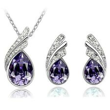Tear Drop Crystal Pendant Necklace and Earring Fashion Jewelry Set