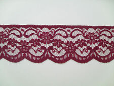 "TOP QUALITY PRETTY BURGUNDY NOTTINGHAM  LACE 2.5"" wd  Clothing/Card/Trim/"