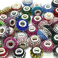 10pcs Mixed Colorful Czech Crystal Rhinestones Beads Fit European Bracelet Charm
