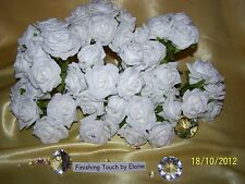 Bulk Buy Foam Roses 12 bunchees = 72 roses MIX YOUR COLOURS PINK IVORY WHITE
