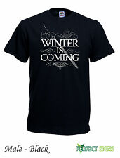 WINTER IS COMING STARK GAME OF THRONES T-SHIRT  Black