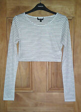 Topshop New Black White Striped Sheer Crop Top Size 6-16 Bnwot