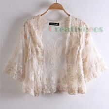 Stylish Women Sweet Embroidered Butterfly Lace Crochet Casual Shawl Tops Blouse