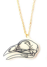 Bird Skull Necklace - Spooky, Dead, Magpie, Crow, Raven, Corvid, Skeleton Birds