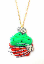Zombie Cupcake Necklace - Brain, Undead, Green Frosting, Bloody Cake, Skeleton