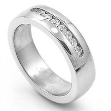 8 SMALL WHITE  CZ  CHANNEL SET WEDDING BAND 316L Stainless Steel Ring SIZES 5-13