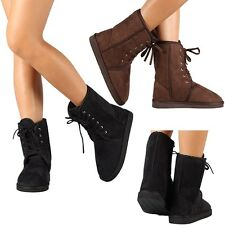 Womens Fashion Winter Boot Faux Suede Fur Shoes Warm Mid Calf Dress Boots Size