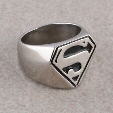 "Fashion Woman Man's Stainless Steel ""S"" Superman Hero Symbol Finger Ring US 9-12"