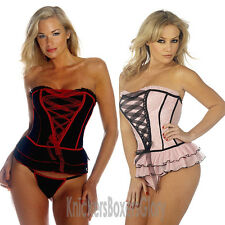Sexy Corset Basque and Thong Lingerie/Underwear Set Black, Pink Select Size