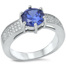 1.5CT TANZANITE PAVE SET CZ ENGAGEMENT .925 Sterling Silver Ring SIZES 6-9