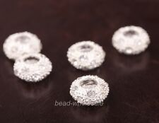 Hot 10pcs High Quality Zinc Alloy With Glass Crystal  Spacer Beads For Bracelet