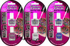 FLAWLESS CAVIAR NAIL VARNISH SET NAIL ART IN 3 COLOURS CREATE THE LOOK NEW
