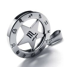 Twelve Constellations Zodiac Stainless Steel Lucky Star Necklace Pendant Jewelry
