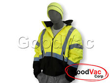 MAJESTIC 75-1313 High Visibility Bomber Waterproof Winter Lined Jacket ANSI 3