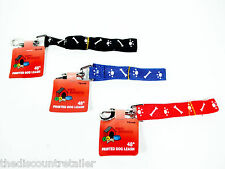 """NEW 48"""" PRINTED NYLON DOG LEASH W/ COLLAR CLASP BLACK BLUE RED PET SMALL MED"""