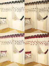 Hudson Cream Voile Eyelet Curtains Faux Silk Heading & Embroidered Floral Detail
