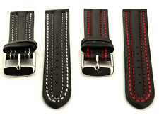 Mens Genuine Leather Watch Strap Band Zurich Double Stitched Buckle Spring Bars
