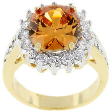 Kate Bissett Two-tone Oval-cut Champagne Cubic Zirconia Ring