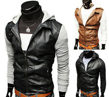 Top Designed Mens Slim Fit Hoody Faux Leather Jackets Coats 2Colors IN XS S M L