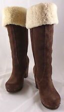 """UGG """"Lillyan"""" cuffable clog tall boots in Chocolate Size 8"""