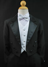 Baby Toddler Boys Black Formal Tuxedo Suit Set Wedding Party Outfit size S - 4T