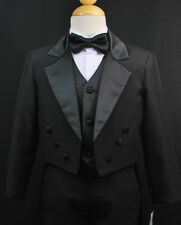 Baby Boys Toddler Black Formal Tuxedo Suit Set Wedding Party Outfit size S - 4T