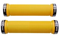 CRANK CANDY Dual Knurl Vice Lock On YELLOW Grip Bike Handle Bar Grips MTB XC DH