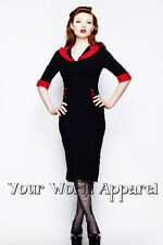 HELL BUNNY THELMA BLACK WITH RED PENCIL WIGGLE DRESS 4204 PINUP RETRO VINTAGE