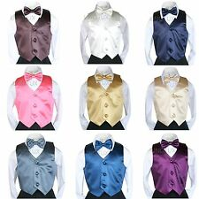 9 Color Baby Toddler Kids Teen VEST + BOW TIE for Boys Suits & Tuxedo Size S-20