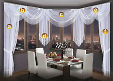 Choice of Swags & Tails  - Net Sheer Curtain Swag Pelmet Valance Tassels Fringe