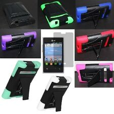 For LG Optimus Logic Zone Dynamic Hybrid Hard Skin Cover Case+Screen Protector