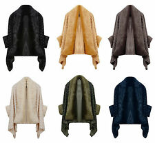 NEW Ladies Women Luxurious Rose Textured Shawl Faux Fur Trimmed Poncho Cape