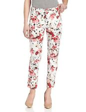 NEW NYDJ Not Your Daughters Jeans Watercolor Poppy floral ANKLE pants red ALISHA