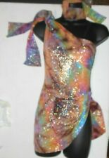 NWT Silver Foiled one shoulder tiedye Dance costume full leotard under skirting
