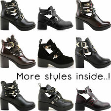 Ladies Womens Cut Outs Buckles Chelsea Chunky Ankle Block Heel Boots Shoes Size