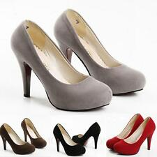 Womens Pumps Suede Court Ladies Shoes Platform High Heels Size 7 8 1 2 3 4 5 6