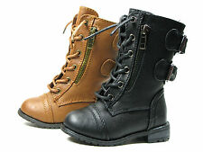 Girl Leather PU Military Boots Lace- Up Boots Toddler Sz 4-8