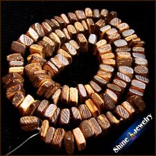 """5x8mm Natural Square brown Wooden Coconut Shell Wood Loose Spacer Beads 15"""""""