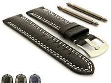 Mens Double Stitched Genuine Leather Watch Strap Band Freiburg SS Buckle - DS