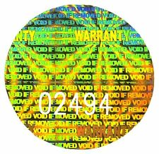 "LARGE ""WARRANTY"" Hologram Stickers, NUMBERED 25mm Round Labels, Tamperproof Void"